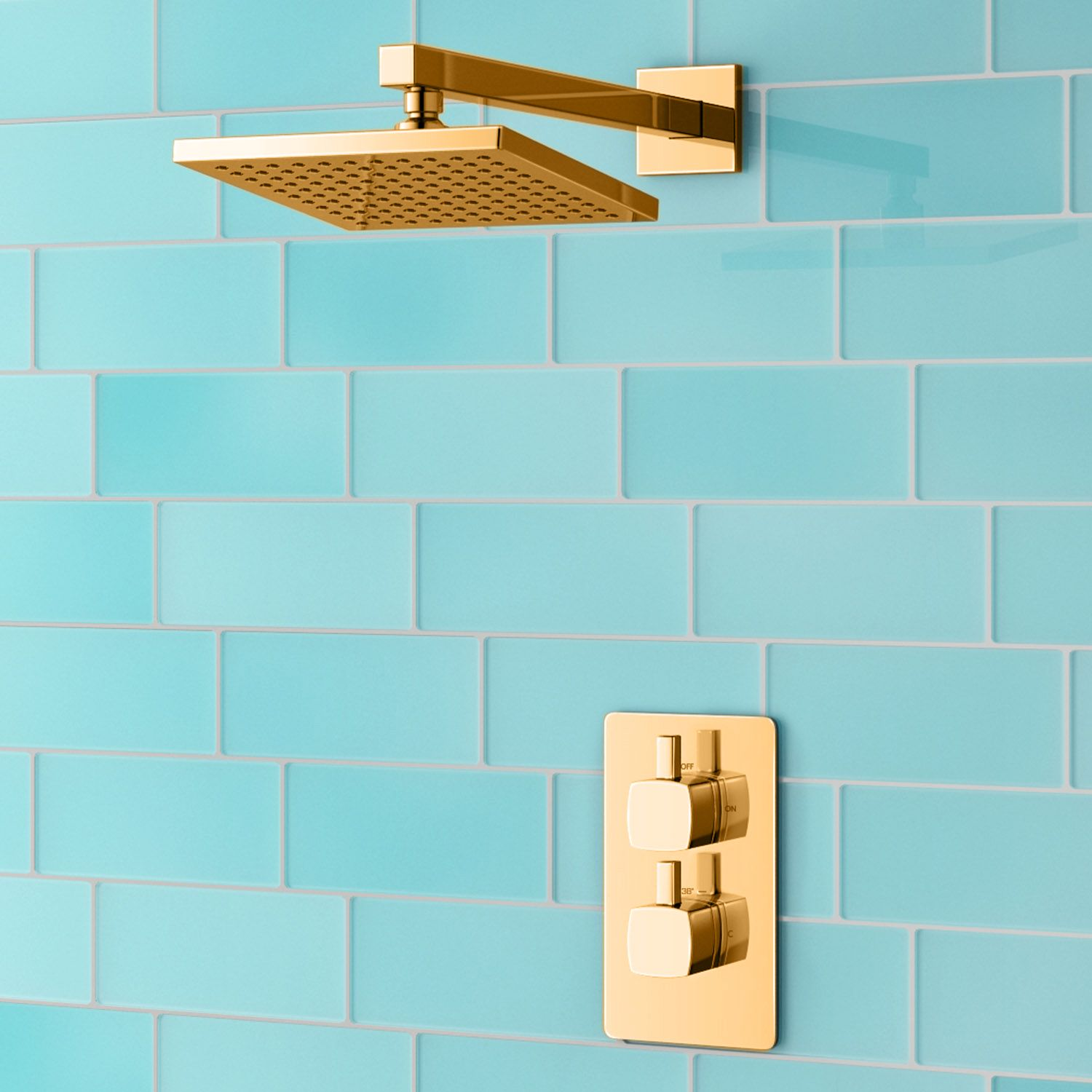 dorato square concealed twin shower valve set square