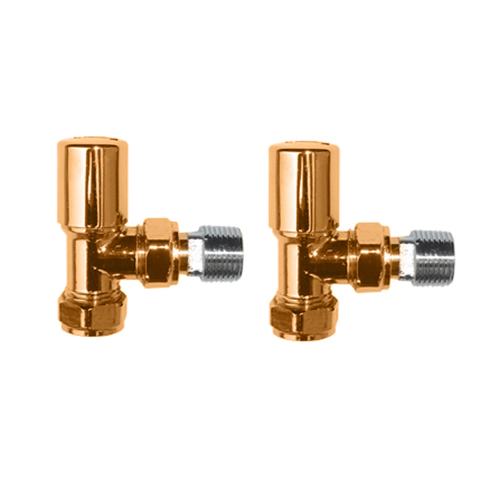 Modern Round Angles Towel Radiator Valves In Dorato 24ct Gold
